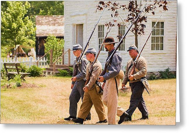 Re-enactor Greeting Cards - Civil war soldiers marching  Greeting Card by Chris Bordeleau