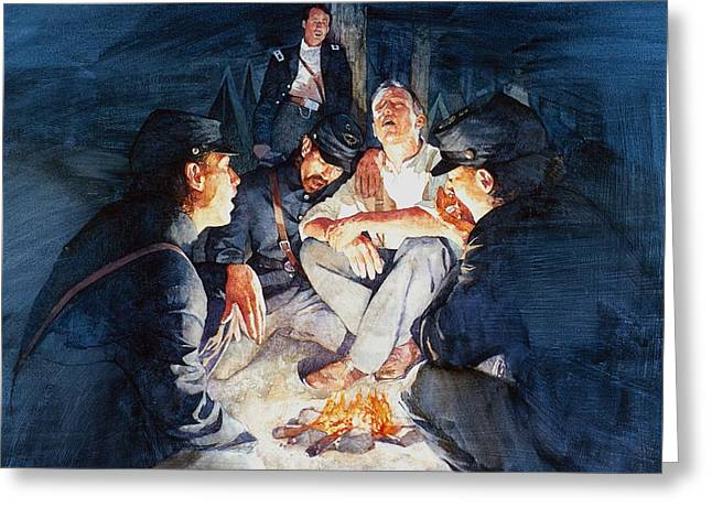 Campfire Stories Greeting Cards - Civil War Soldiers Singing Greeting Card by Greg Harlin