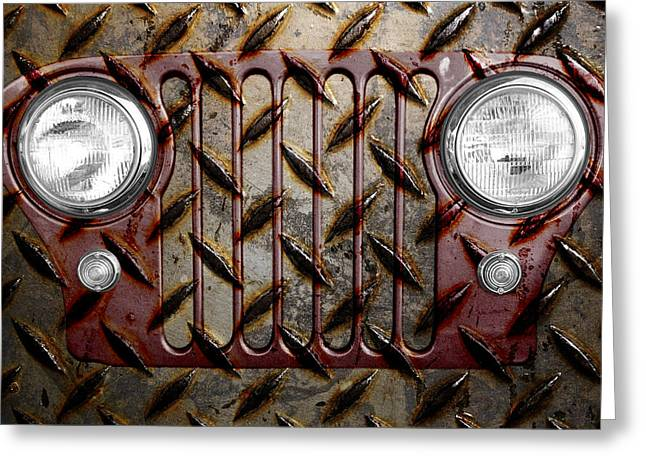 Civilians Greeting Cards - Civilian Jeep- Maroon Greeting Card by Luke Moore