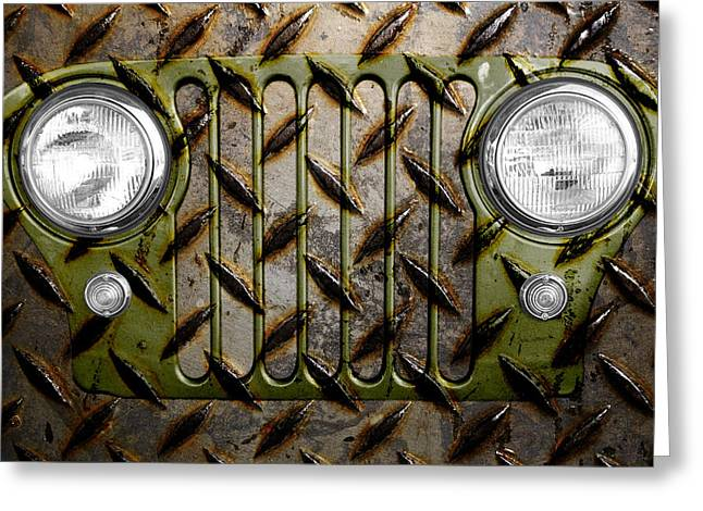 Olive Drab Greeting Cards - Civilian Jeep- Olive Green Greeting Card by Luke Moore
