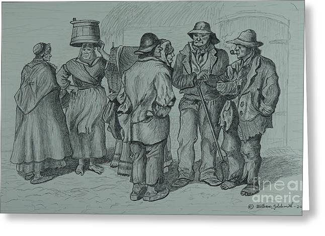 Thatch Drawings Greeting Cards - Claddagh People 1873 Greeting Card by William Goldsmith