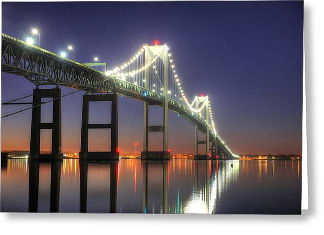 Ocean. Reflection Greeting Cards - Clairborne Pell Newport Bridge Greeting Card by Jeff Bord