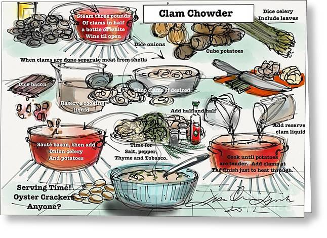 Culinary s Drawings Greeting Cards - Clam Chowder Greeting Card by Lisa Owen-Lynch