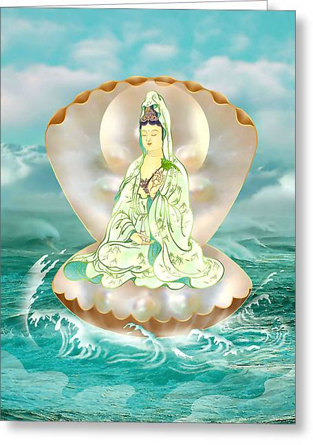 Kuan Greeting Cards - Clam-sitting Kuan Yin Greeting Card by Lanjee Chee