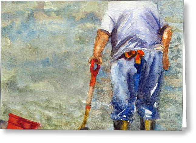 Old Man And The Sea Greeting Cards - Clamdigger Greeting Card by Sandy Linden
