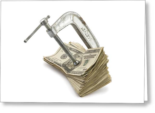 Financial Crisis Greeting Cards - Clamp putting pressure On American Money Concept Greeting Card by Keith Webber Jr