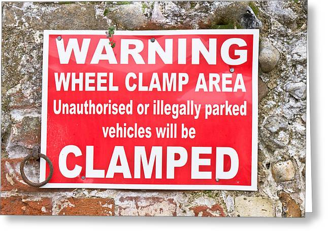Announcement Greeting Cards - Clamping sign Greeting Card by Tom Gowanlock