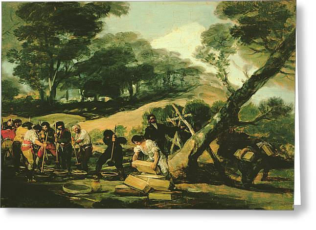 Clandestine Manufacture Of Gunpowder, 1812-13 Oil On Canvas Greeting Card by Francisco Jose de Goya y Lucientes