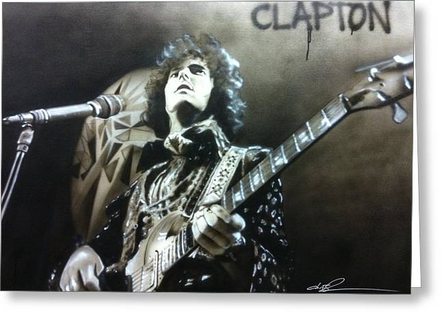 Hippy Greeting Cards - Clapton Greeting Card by Christian Chapman Art