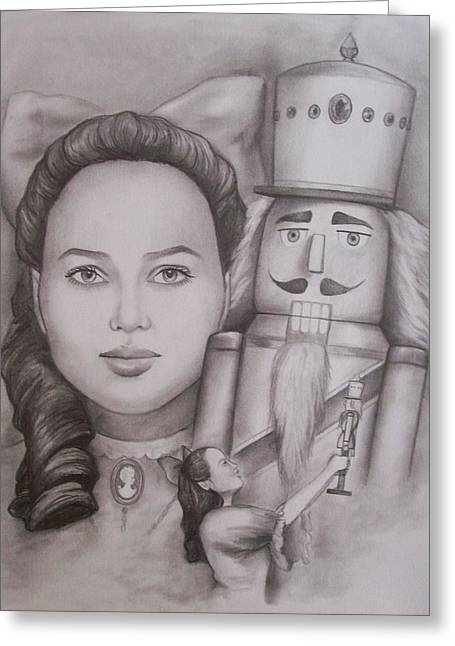 Cameo Drawings Greeting Cards - Clara And The Nutcracker Greeting Card by Amber Stanford