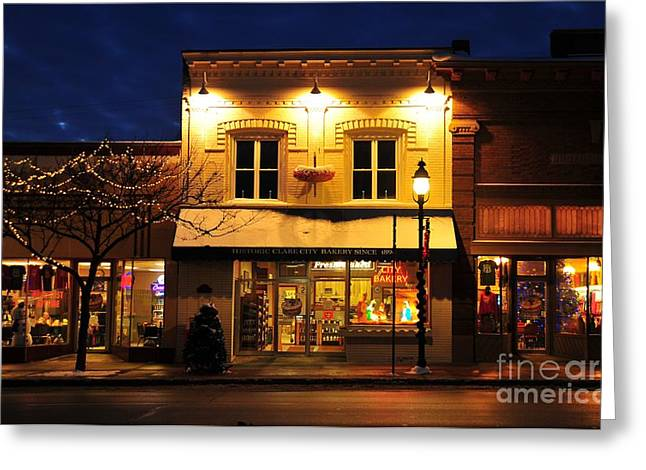 Evening Greeting Cards - Clare Michigan Decorated for Christmas 3 Greeting Card by Terri Gostola