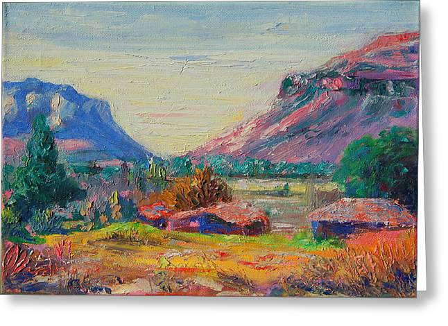 Clarence Mountain Free State South Africa Greeting Card by Thomas Bertram POOLE