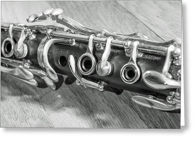 Marching Band Greeting Cards - Clarinet on Wood Black and White Greeting Card by Photographic Arts And Design Studio