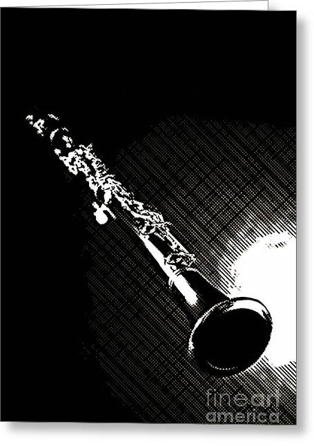 Jazz Drawing Greeting Cards - Clarinet Photograph Drawing in Sepia 3011.01 Greeting Card by M K  Miller