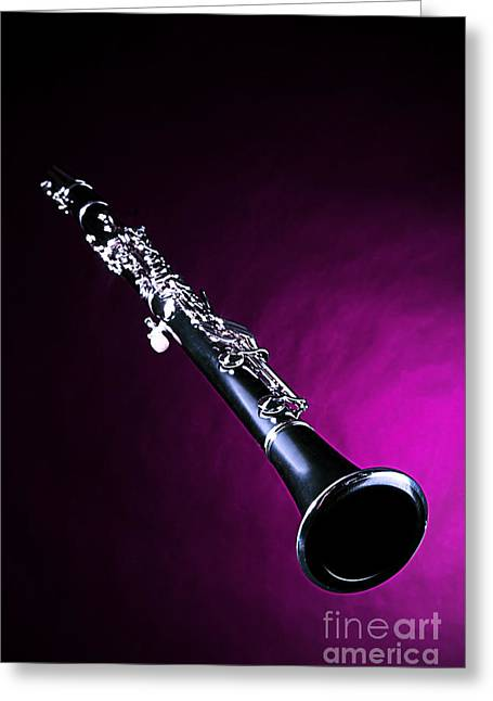 Jazz Drawing Greeting Cards - Clarinet Photographic Drawing in Color 3011.02 Greeting Card by M K  Miller
