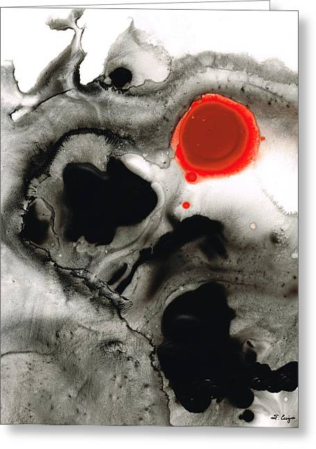 Red And Black Greeting Cards - Clarity - Black And White Art Red Painting Greeting Card by Sharon Cummings