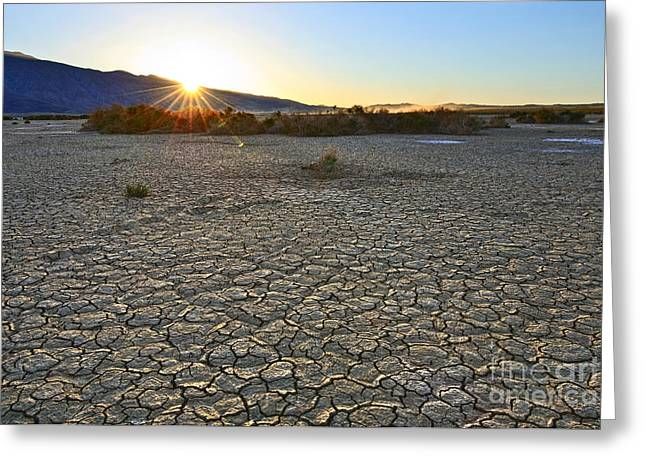 Dry Lake Greeting Cards - Clark Dry Lake located in Anza Borrego Desert State Park in California. Greeting Card by Jamie Pham