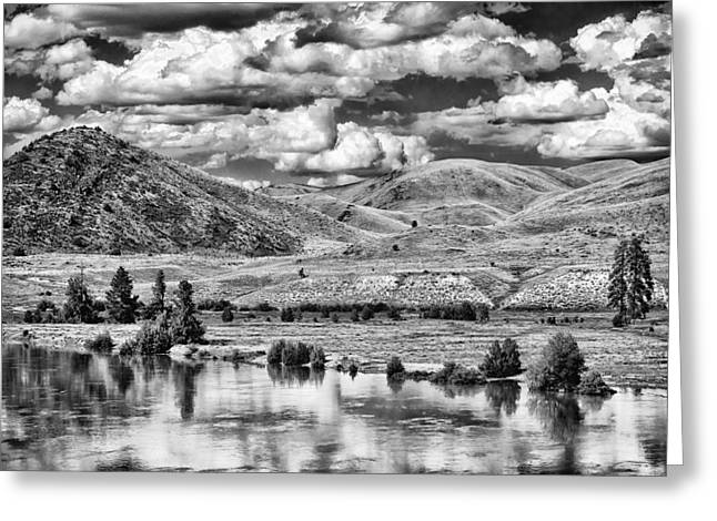 Bank; Clouds; Hills Greeting Cards - Clark Fork River Bursting its Banks Greeting Card by Paul W Sharpe Aka Wizard of Wonders