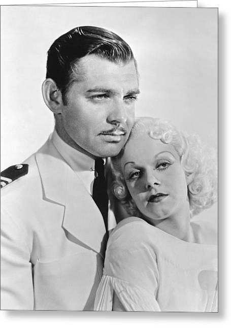 Movie Art Greeting Cards - Clark Gable & Jean Harlow Greeting Card by Underwood Archives