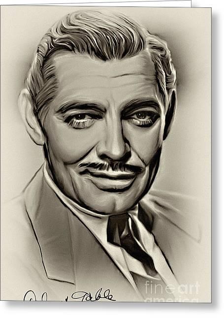 Clark Gable Greeting Card by Andrzej Szczerski