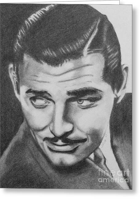 Classic Hollywood Drawings Greeting Cards - Clark Gable Greeting Card by D Joseph Aho