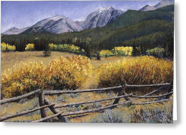 Fence Pastels Greeting Cards - Clark Peak Greeting Card by Mary Giacomini