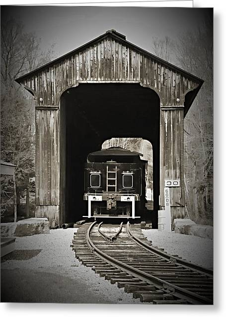 Sky Greeting Cards - Clarks Trading Post Train Greeting Card by Jes Fritze