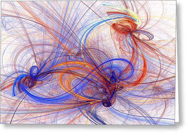 Swirls Of Energy Greeting Cards - Clash of fire and ice Greeting Card by Martin Capek