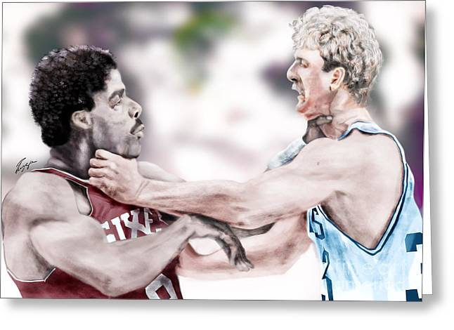 Basket Ball Game Paintings Greeting Cards - Clash Of The Titans 1984 - Bird and Doctor  J Greeting Card by Reggie Duffie