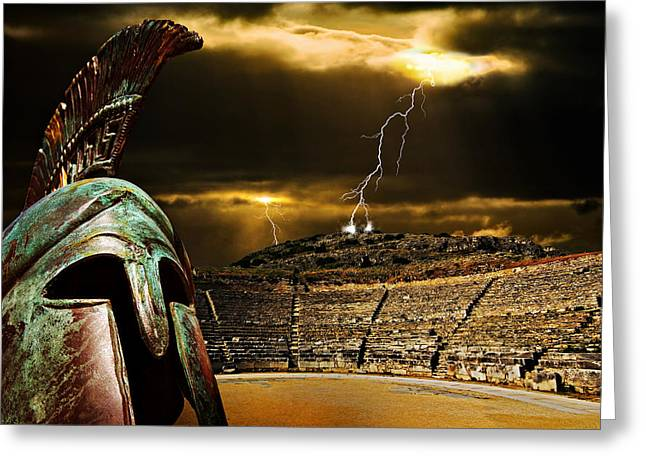 Greece Greeting Cards - Clash Of The Titans Greeting Card by Meirion Matthias