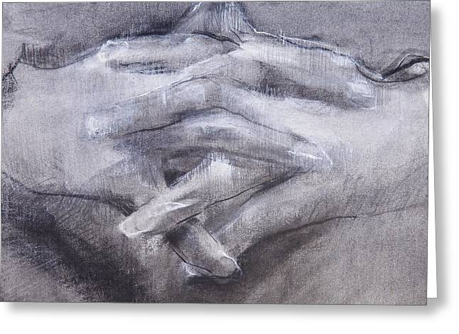 Gray Pastels Greeting Cards - Clasped Hands Greeting Card by Janet Goddard
