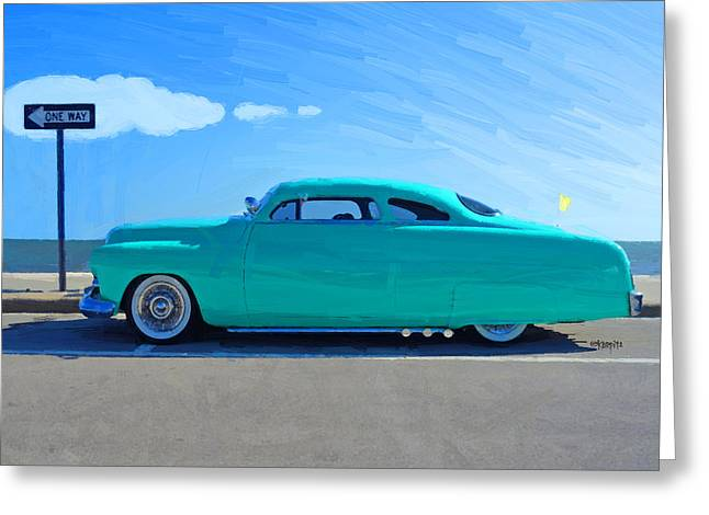 Recently Sold -  - Shower Curtain Greeting Cards - Classic 1949 Mercury Leadsled Car Greeting Card by Rebecca Korpita