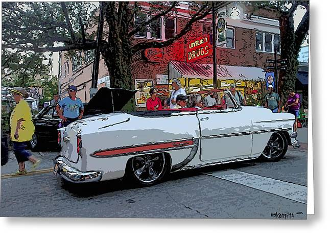 Loveless Greeting Cards - Classic 1954 Chevrolet Bel Air Car - Old Chevy Convertible Greeting Card by Rebecca Korpita