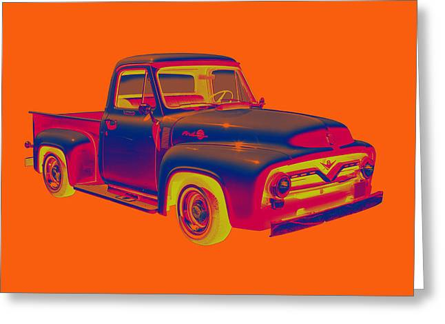 Old Trucks Greeting Cards - Classic 1955 F100 Ford Pickup Pop Art Greeting Card by Keith Webber Jr