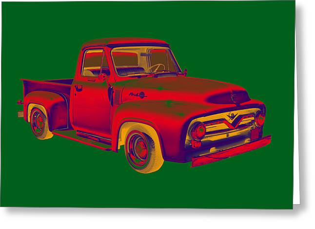 Old Trucks Greeting Cards - Classic 1955 F100 Ford Pickup Truck Popart Greeting Card by Keith Webber Jr