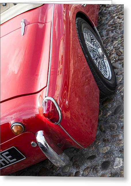 Chrome Emblem Greeting Cards - Classic 1957 Triumph TR3 Greeting Card by Nomad Art And  Design