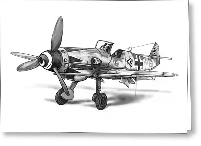 Classic Drawings Greeting Cards - Classic Airplane In World 2 Art Drawing Poster Greeting Card by Kim Wang