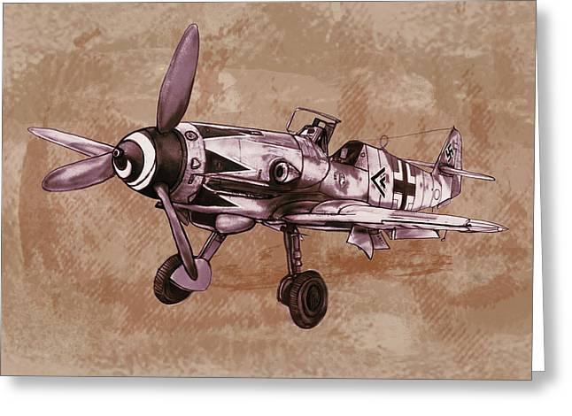 Classic Mixed Media Greeting Cards - Classic airplane in world war 2 - Stylised modern drawing art sketch Greeting Card by Kim Wang