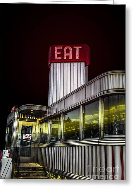 Diner Photographs Greeting Cards - Classic American diner at night Greeting Card by Diane Diederich