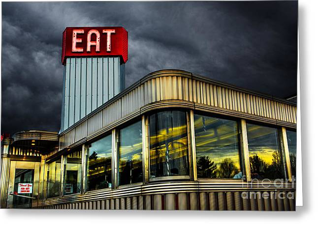 Stainless Steel Digital Art Greeting Cards - Classic American Diner Greeting Card by Diane Diederich