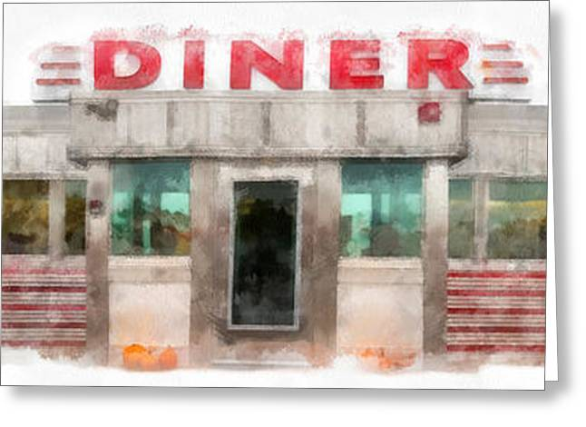 Diner Greeting Cards - Classic American Diner Watercolor Greeting Card by Edward Fielding