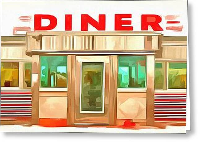 Roadside Art Greeting Cards - Classic Americana Diner Pop Greeting Card by Edward Fielding