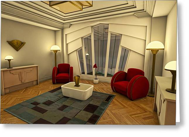 """""""indoor"""" Still Life Digital Art Greeting Cards - Classic Art Deco Living Room Greeting Card by Liam Liberty"""
