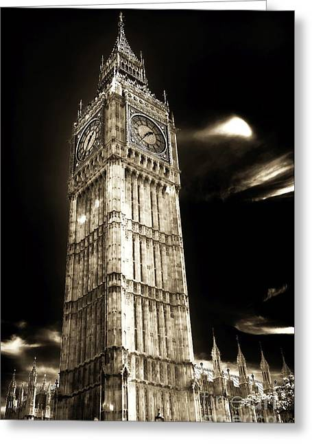 White Decor Posters Greeting Cards - Classic Big Ben Greeting Card by John Rizzuto