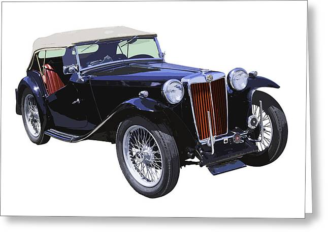 Spokes Greeting Cards - Classic Black MG TC Convertible British Sports Car  Greeting Card by Keith Webber Jr