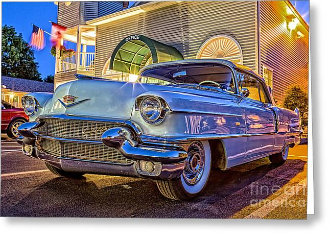 Caddy Greeting Cards - Classic Blue Caddy at Night Greeting Card by Edward Fielding