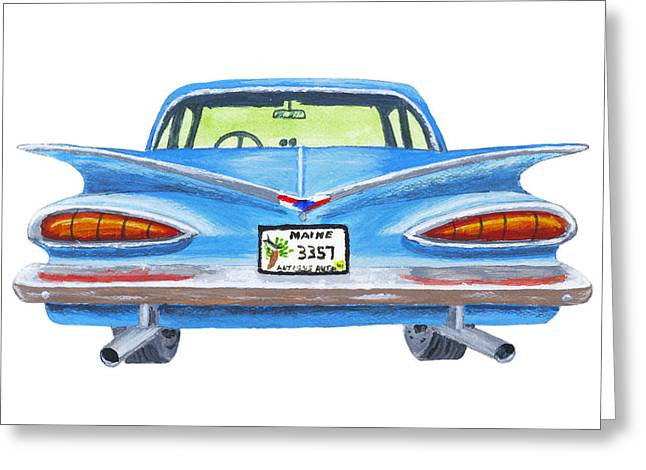 Motor Vehicles Greeting Cards - Classic Blue Chevy Car Painting Greeting Card by Keith Webber Jr