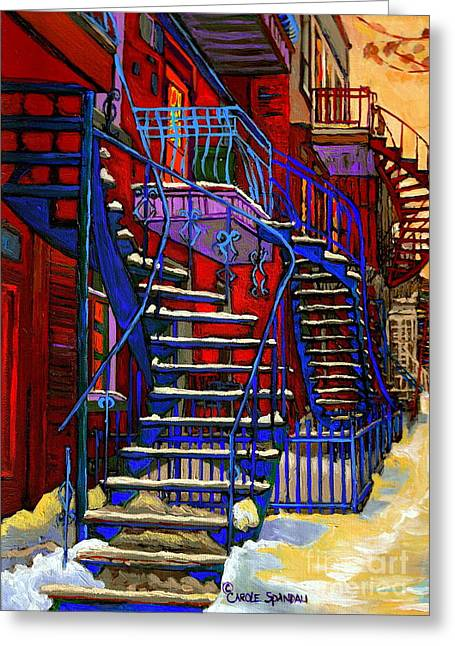 Classic Blue Winding Staircase Montreal Winter City Scene Painting  By Carole Spandau Greeting Card by Carole Spandau