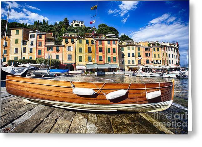 Portofino Italy Greeting Cards - Classic Boat in Portofino Greeting Card by George Oze