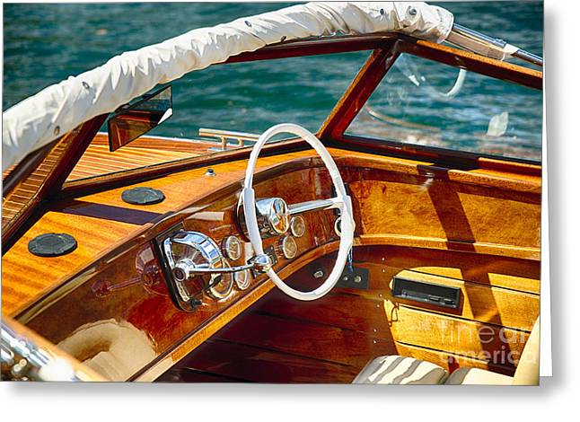 Throttle Greeting Cards - Classic Boat Lake Como Style Greeting Card by George Oze